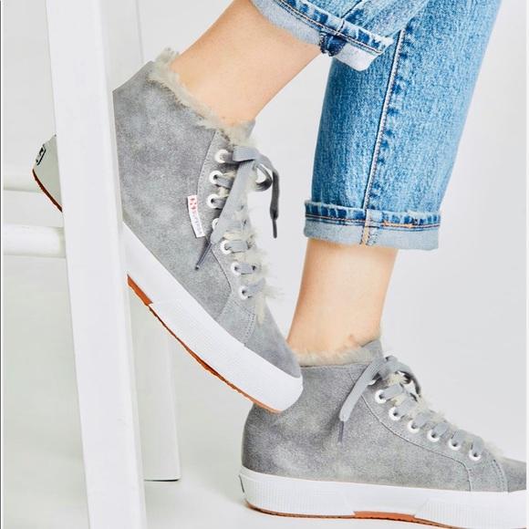 Superga Shoes   Gray Suede High Top